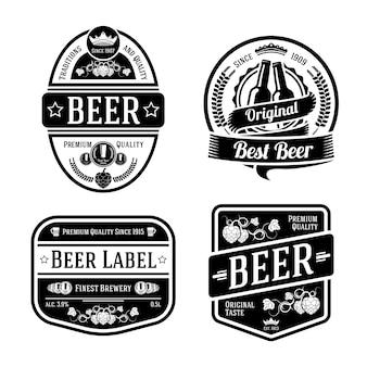 Set di etichette di birra monocromatiche nere di diverse forme di illustrazione