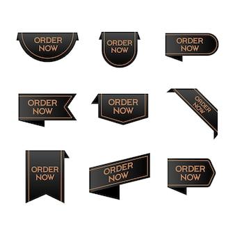 Set di adesivi di ordine nero ora