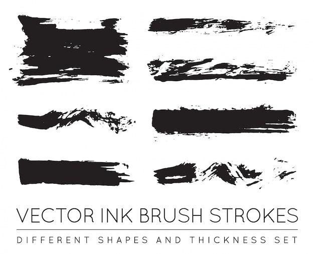 Insieme di pennellate di inchiostro nero penna. tratto di pennello inchiostro grunge. tratto di pennello sporco.