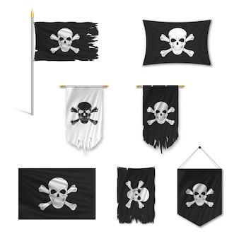 Set di bandiere pirata nere strappate dal vento, su un palo, gagliardetto, cencioso, tratto, isolato su priorità bassa bianca.