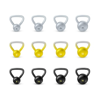 Set di kettlebell realistico nero. attrezzature per bodybuilding e allenamento.
