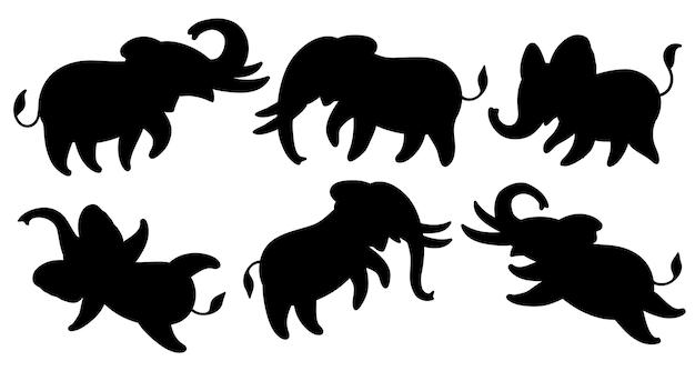 Set di sagome nere di elefanti elefanti simpatici cartoni animati in diverse pose