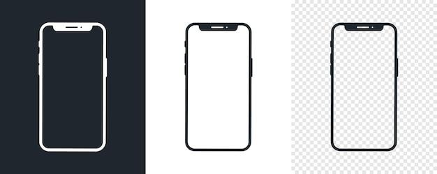 Set di icone di smartphone nero. modello semplice dell'icona del telefono cellulare. bianco e nero. illustrazione vettoriale