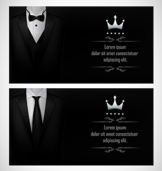 Set di modelli di biglietti da visita neri smoking