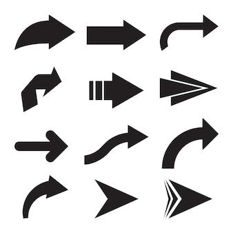 Set di frecce vettoriali nero. icona della freccia. icona di vettore di freccia. freccia. collezione di frecce vettoriali