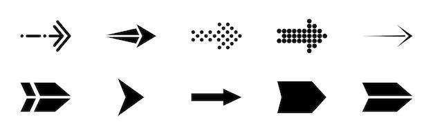 Set di frecce vettoriali nere. icona delle frecce. icona di vettore della freccia. accumulazione di vettore delle frecce.