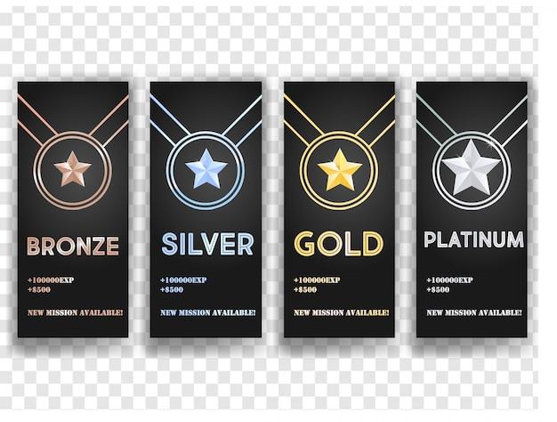 Insieme delle bandiere di vettore nero con oro