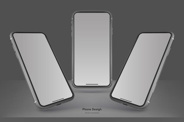 Set di telefoni vettore nero isolato su sfondo nero