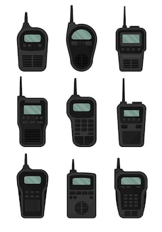 Set di walkie-talkie neri con antenna e schermo
