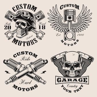 Set di emblemi di motociclisti in bianco e nero