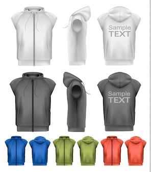 Set di felpe maschili con cappuccio in bianco e nero e colorate con cerniera. vettore
