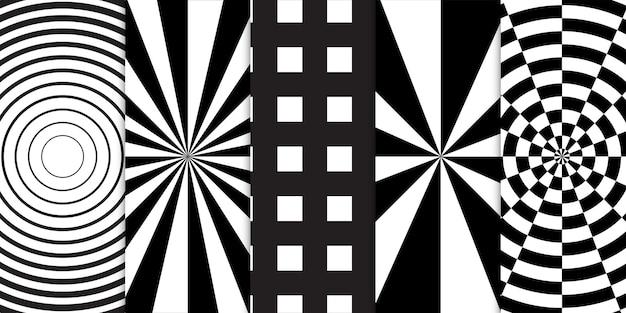 Set di forme geometriche in bianco e nero e modello senza cuciture di illusione ottica a spirale
