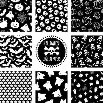 Set di modelli di halloween in bianco e nero reticolo senza giunte per halloween