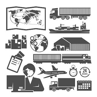 Set di icone in bianco e nero sul tema della logistica