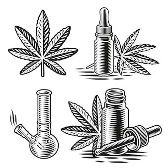 Una serie di illustrazioni in bianco e nero per il tema della cannabis in stile incisione.