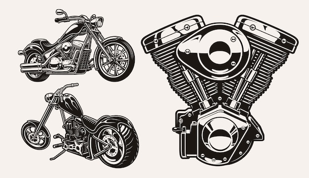 Serie di illustrazioni in bianco e nero per il tema motociclistico