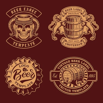 Set di distintivi di birra vintage in bianco e nero