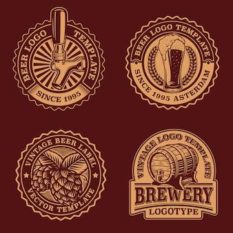 Set di emblemi di birra vintage in bianco e nero