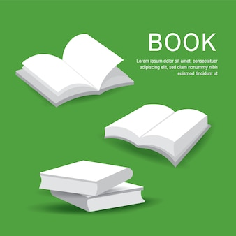 Insieme della copertina di libro in bianco con i libri aperti e chiusi del libro bianco isolati su fondo. illustrazione.