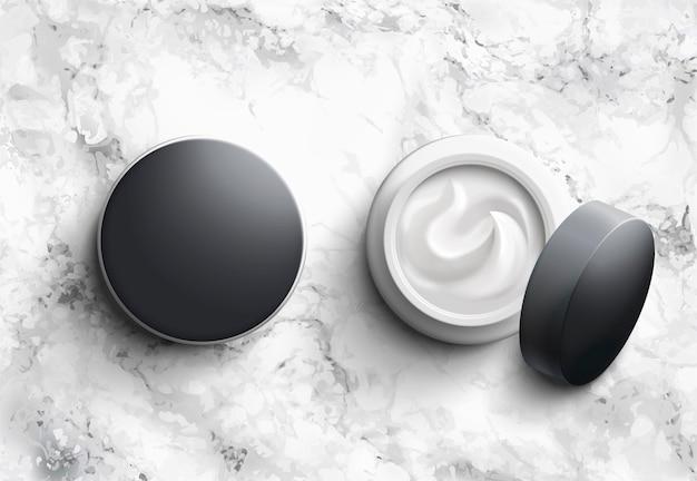 Set di barattoli cosmetici in bianco sul tavolo di pietra di marmo con angolo di vista dall'alto, illustrazione 3d