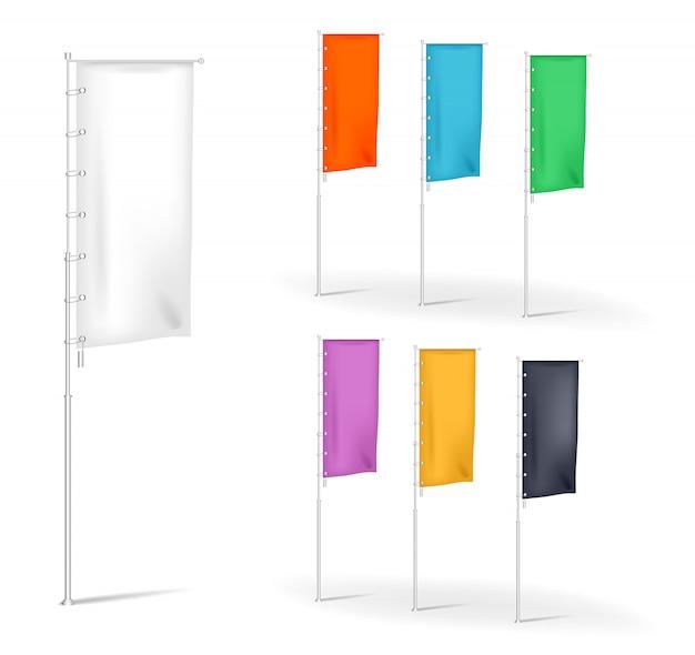 Set di bandiere vuote banner pubblicitario banner con pieghe multicolore, modelli di illustrazione