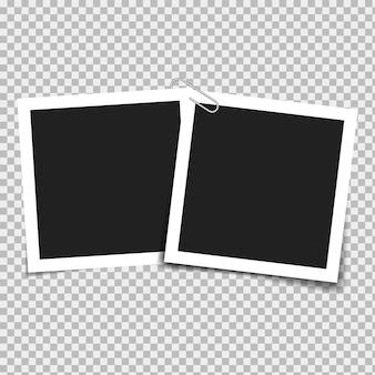 Set di cornici vuote su uno sfondo con ombre trasparenti. illustrazione vettoriale.