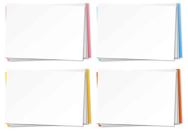 Set di modello di nota di carta bianca