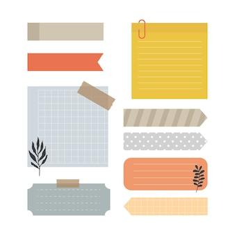 Set di note di carta bianca con elementi per decorare pianificatore, note, promemoria, vettore, illustrazione.