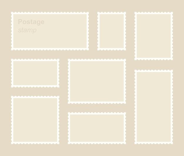 Impostare il francobollo vuoto modello di adesivo postale per l'invio di confine dentato.