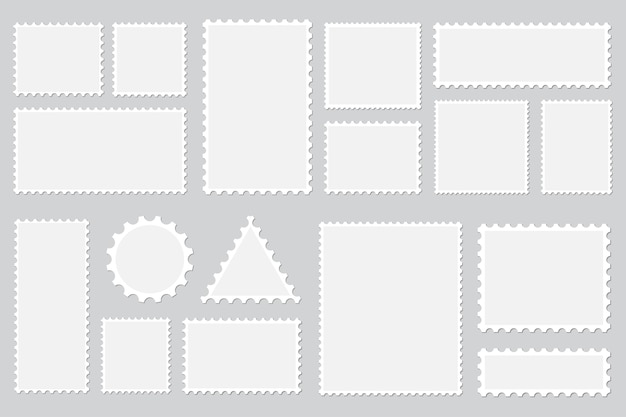 Set di francobolli in bianco con ombra