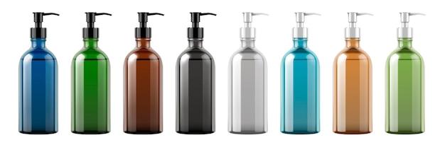 Insieme delle bottiglie vuote della pompa su priorità bassa bianca