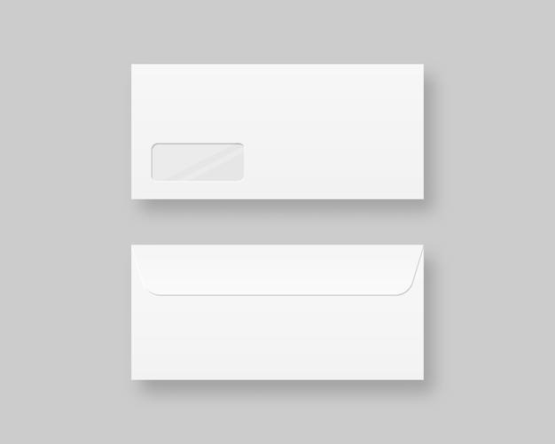 Set di modello di buste realistiche in bianco. vista frontale e posteriore busta realistica vuota vuota. illustrazione realistica.