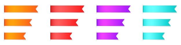 Set di nastri vuoti, segnalibri o etichette