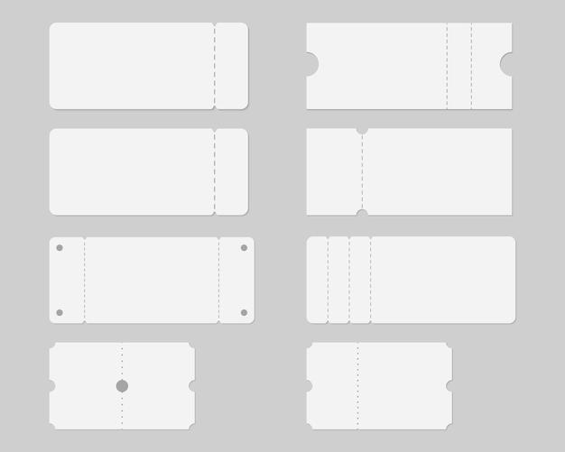 Set di modello di mockup biglietto vuoto. biglietto per concerti, feste, festival, lotterie o coupon.