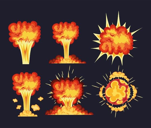 Set di esplosioni con nuvole di fuoco di colore arancione, rosso e giallo.