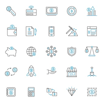 Set di icone tecnlog blockchain