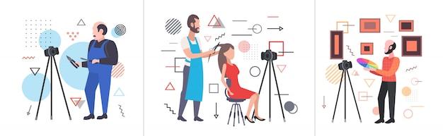 Impostare i blogger che registrano video online con la fotocamera su treppiede streaming live trasmissione social media networking raccolta di concetti di blog orizzontale a piena lunghezza