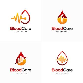 Set di disegni del logo per la cura del sangue, icona del simbolo del sangue con impulso vettore
