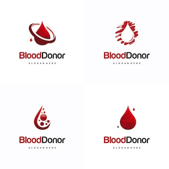 Set di modelli di logo del donatore di sangue, modello di logo di donazione di sangue icona vettore