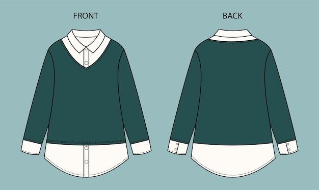 Impostare la camicetta per lo schizzo di moda ragazza sulla vista anteriore e posteriore