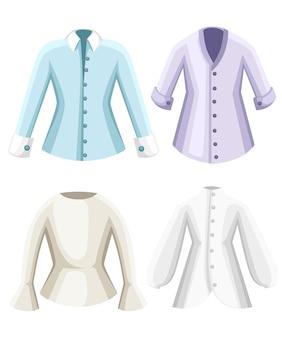 Set di camicette. vestiti per signora. camicette a maniche lunghe formali femminili. . illustrazione su sfondo bianco. pagina del sito web e app per dispositivi mobili.