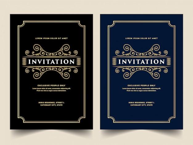 Set di carta di invito stile retrò in oro antico reale lusso blu e nero per la festa di compleanno di ingresso vip