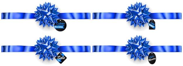 Set di fiocchi blu con nastri orizzontali, ombre ed etichette e cartellini di vendita su sfondo bianco