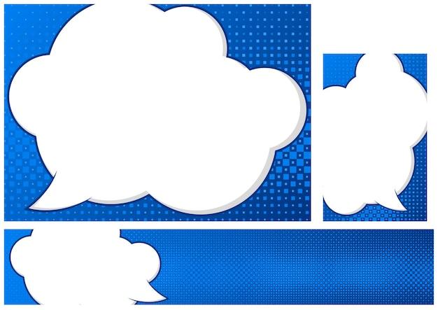 Set di modelli di design blu con sfondo pop art