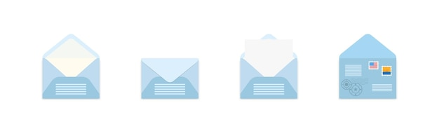 Set di buste blu con francobolli in una prospettiva diversa.