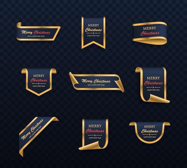 Set di striscioni di vendita di natale d'oro blu etichette di buon natale e felice anno nuovo