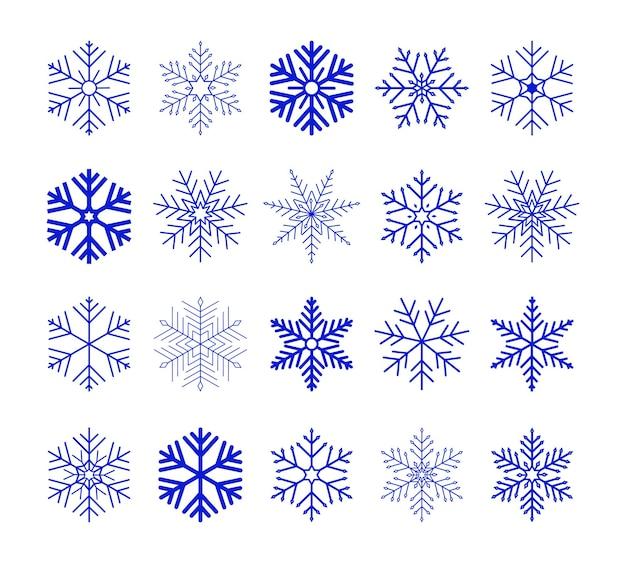 Insieme della siluetta dell'icona dei fiocchi di neve isolati blu su fondo bianco siluetta piana delle icone della neve elemento piacevole per le carte dell'insegna di natale ornamento del nuovo anno