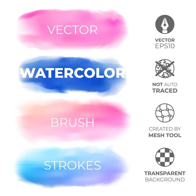Insieme di tratti di acquerello blu e rosa