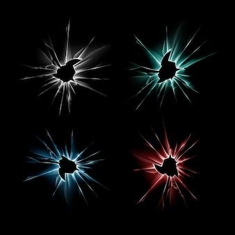 Set di blu rosso verde rotto rotto in frantumi finestra di vetro crepa con bordi taglienti vicino su sfondo nero scuro