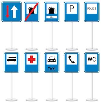 Insieme dei segnali stradali blu con supporto isolato su priorità bassa bianca